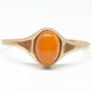 10k Yellow Gold Genuine Vintage Carnelian Ring